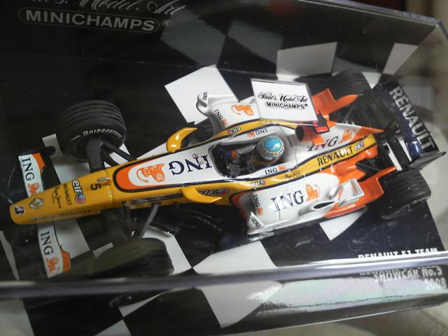 ミニチャンプス 1/43スケール ルノー F1 チーム ショーカー 2008 F.アロンソ #2